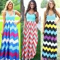 Женщины Летний Пляж Boho Maxi Dress 2017 Высокое Качество Марка Полосатый Печати Длинные Платья Женская Плюс Размер
