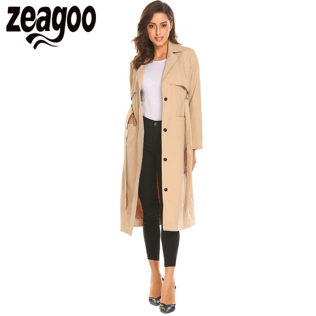 None Lapel w/ None Single Breasted Loose Fit Casual Long   Trench   Coat Women Belt