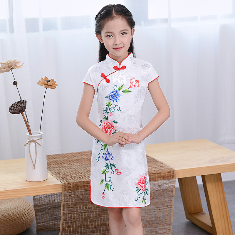 2018 winter children cheongsam red lace flower girl evening dress qipao long sleeve chinese traditional qi pao baby kids year red full length wedding dress elegant evening gowns chinese women embroidery flower qipao sexy cheongsam bride toast clothing