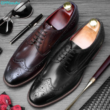 QYFCIOUFU 2019 New Handmade Brogue Oxford Shoes Mens Genuine Cow Leather Wedding Office Vintage Dress Formal Footwear