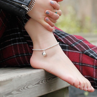 21cm+3.6cm simple Cute Full Balls beads sweet Korean female Women Anklets Jewelry 925 Sterling Silver Anklets Jewelry for gift