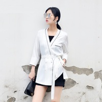 White Blazer Women Suit Summer Autumn Long Double Breasted Female Suit Jacket For Office Lady Women Blazers 2018 New Fashion
