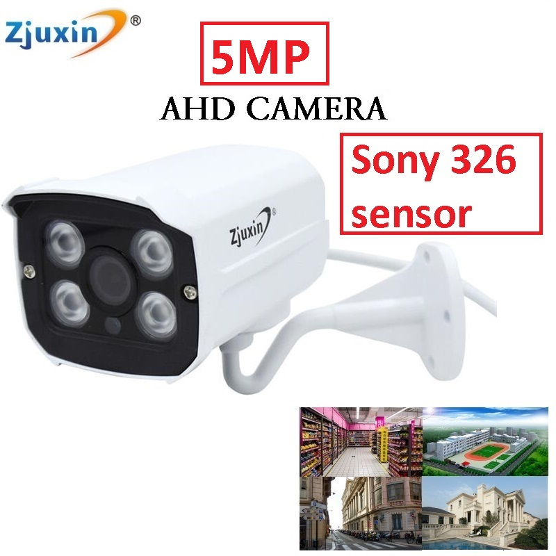 Zjuxin Metal outdoor SONY SENSOR 5MP AHD CAMERA USE 4pcs ARRAY LED with 5mp 3.6mm lens easy to install