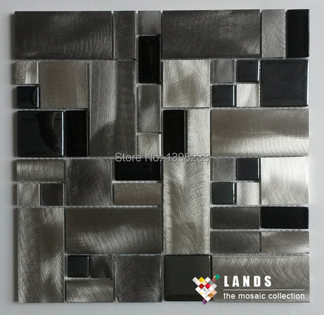 3d black silvery glass metal drawbench mosaic meshback for Black 3d tiles wallpaper