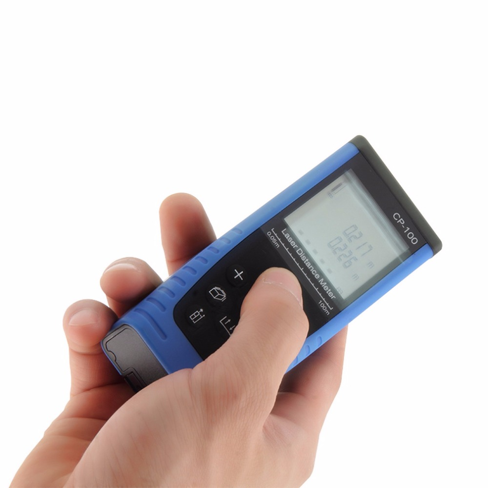 1 Set 100 M (328ft) CP-100 High Accuracy Laser 635nm less than 1mW Distance Meter Measure Range Finder Area Volume Blue