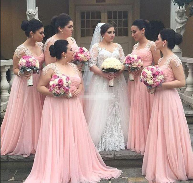 Pink A Line   Bridesmaid     Dresses   Sweetheart Long Chiffon   Bridesmaid   Gowns For Girls with Lace Pleat Wedding Guest maid of Honor