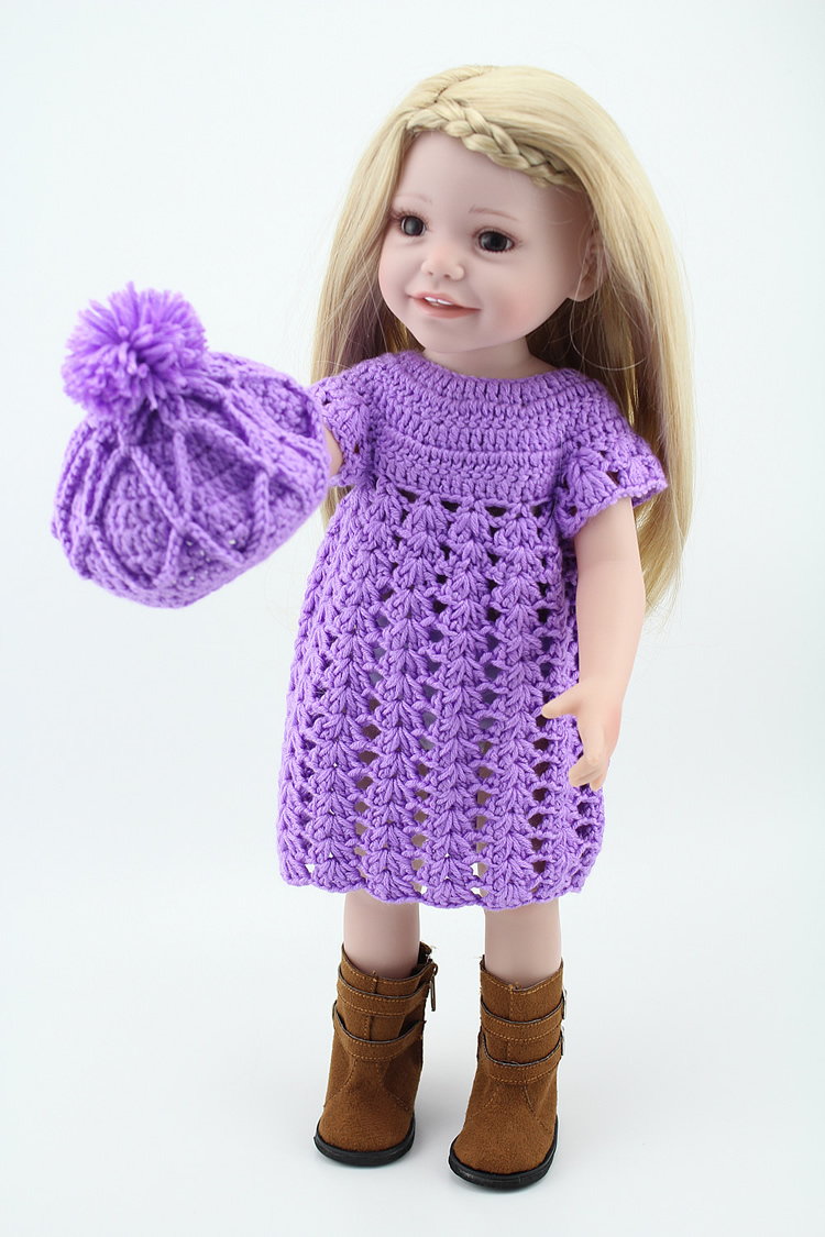 Vinyl 18'' American Play Doll Toys For Children In Crochet Dress Hat And Boots Blonde Hair Baby Toys цена
