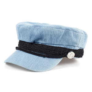 reputable site 1ab92 230ef VORON Solid Blue Color Jean Flat Autumn Newsboy Hat Caps