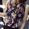 Blusas Femininas 2016 New Fashion Women's Colourful Turtleneck Summer Chiffon Blouses Cute Sleeveless Shirts Slim Brand Tops