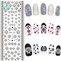 Rocooart DS265 Water Transfer Nails Art Sticker Winter Style Black Snowflake Nail Wraps Sticker Watermark Fingernails Decals