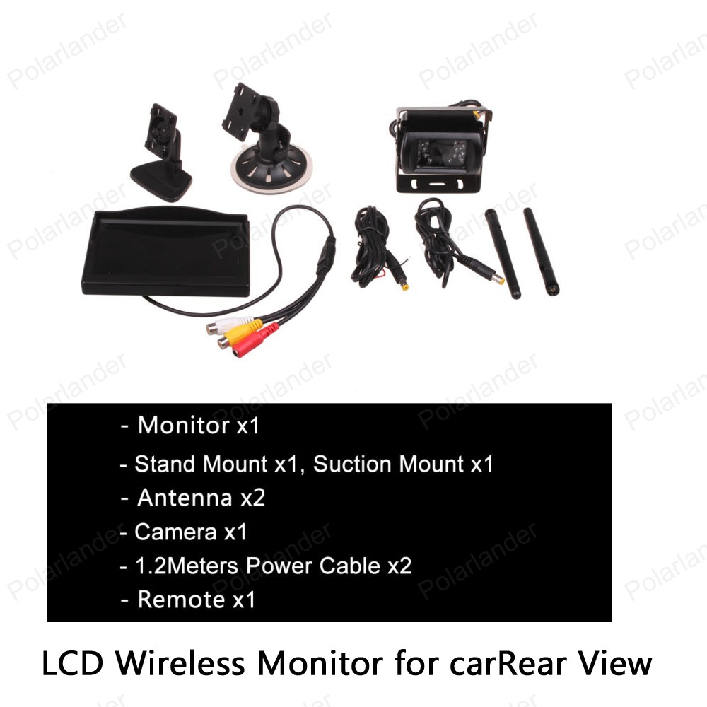 factory price 12 24V Car Truck 5 inch TFT LCD Wireless Monitor for Rear View Camera Parking Video Input Built in Transmitter