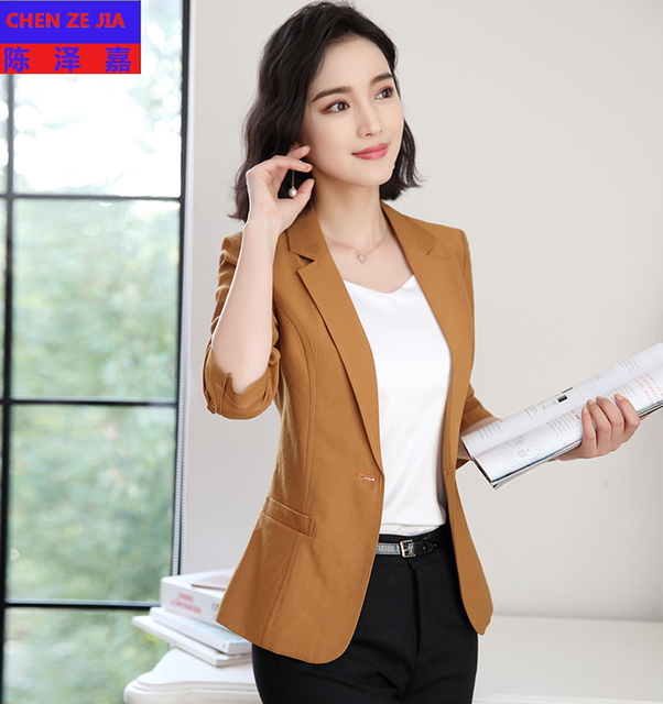 2018 Spring Womens Uniform Suit Jacket Half Sleeve Fashion Colour