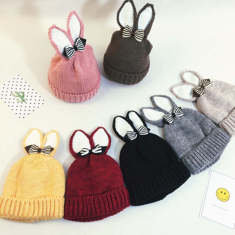 Lovely Bunny Winter Hat for Children Rabbit Ears Cartoon Knitted Warm Fleece Beanie Thick Warm Hat for Girls 3-5 Years Boys Girl t100 children sweater winter wool girl child cartoon thick knitted girls cardigan warm sweater long sleeve toddler cardigan