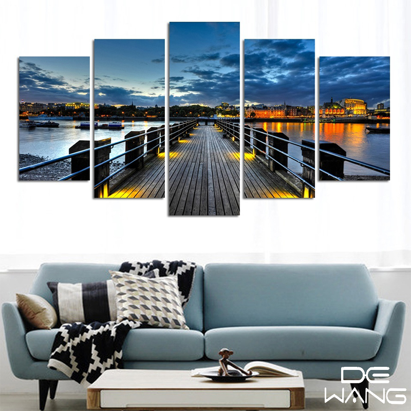 canvas painting abstract city street landscape decorative paintings modern wall pictures 5 pieces canvas wall art