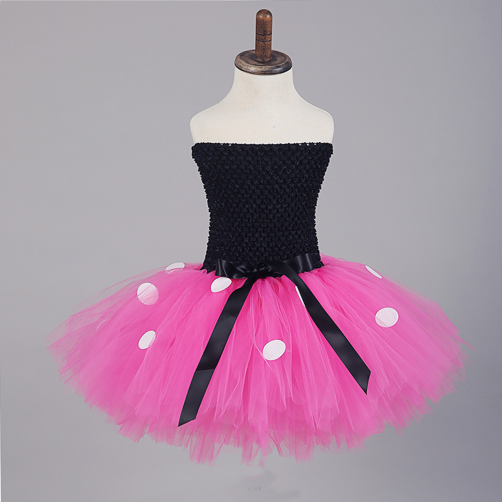 Black Top Rose Red Tulle Tutu Mini Mickey Dress with White Dots Knee Length Pettigirl Dress for Halloween Outfits Kids Clothes (4)