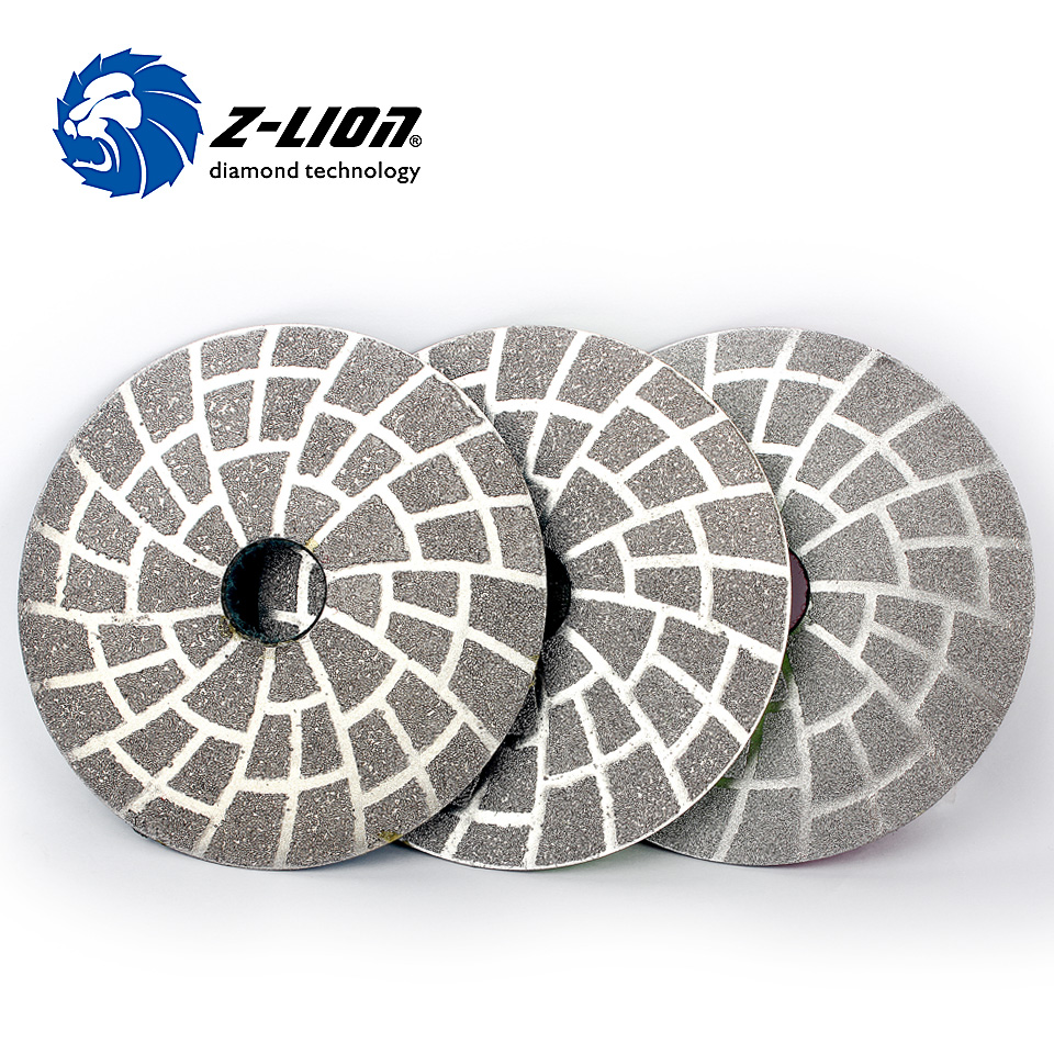 Z LION 4 Inch 3pcs Set Diamond Vacuum Brazing Polishing Pad 100mm Granite Concrete Marble Grinding