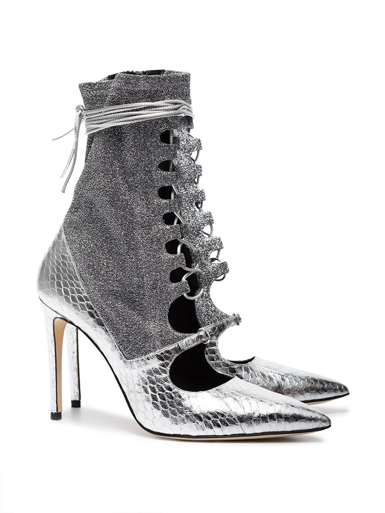 Bottes À Chaussures Patchwork Pointu Dipsloot Soirée Lacets Hauts Mode Robe Bout Découpes Dames Argent Sandales Femmes De Spartiates Filles Talons ZxCCfwqSB