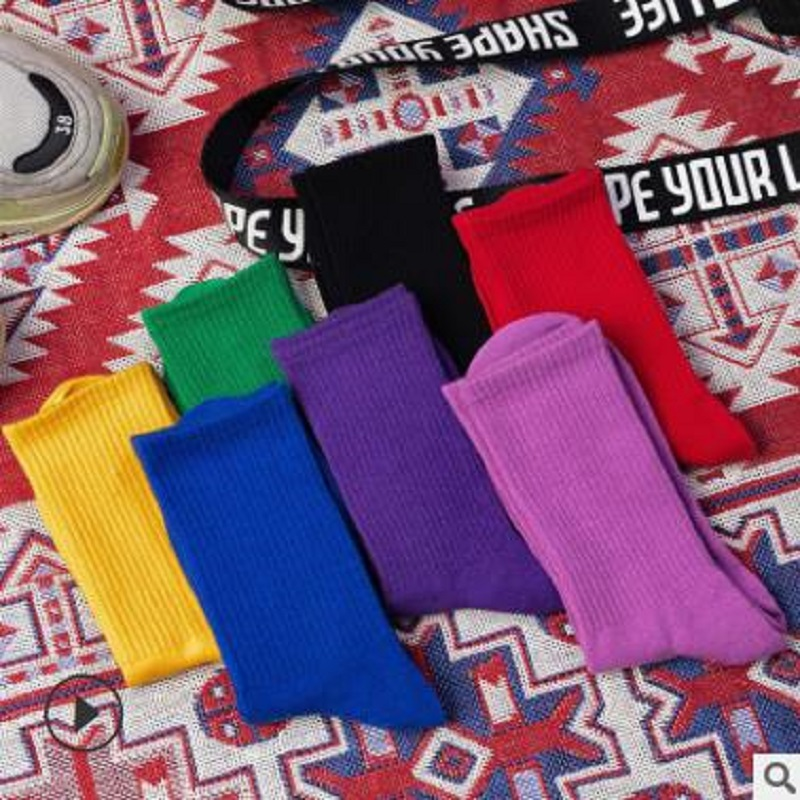 14 PCS = 7 Pairs Women Socks Autumn And Winter New Cotton Solid Color Ladies Solid Color Women  Socks