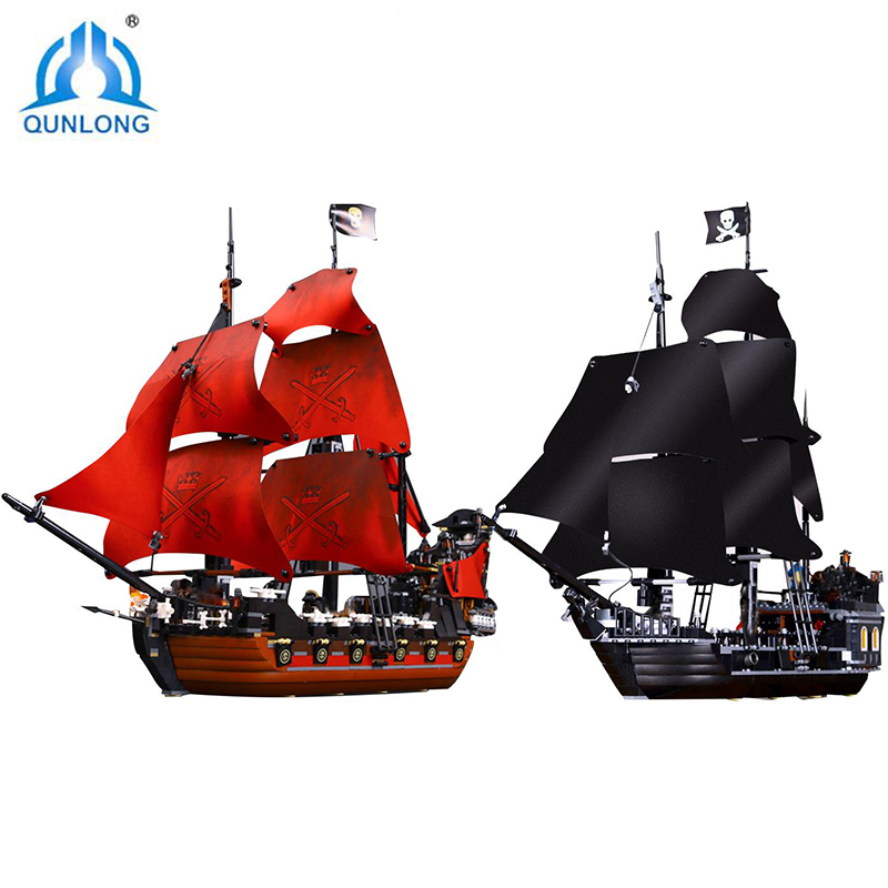 16006 804pcs Model Building Blocks Pirates Of The Caribbean The Black/Red Pearl Ship Toys Compatible Legoings 4184 Bricks Gifts lepin 16006 804pcs building bricks blocks pirates of the caribbean the black pearl ship legoing 4184 toys for children gift