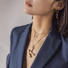 A-Z Fashion Personalized Letter Alphabet Pendant Necklace Gold Color Chain Initial Bamboo Charms Necklaces For Women Jewelry a z fashion personalized capital letter corrugated shape alphabet pendant necklace gold color chain initial necklaces for women