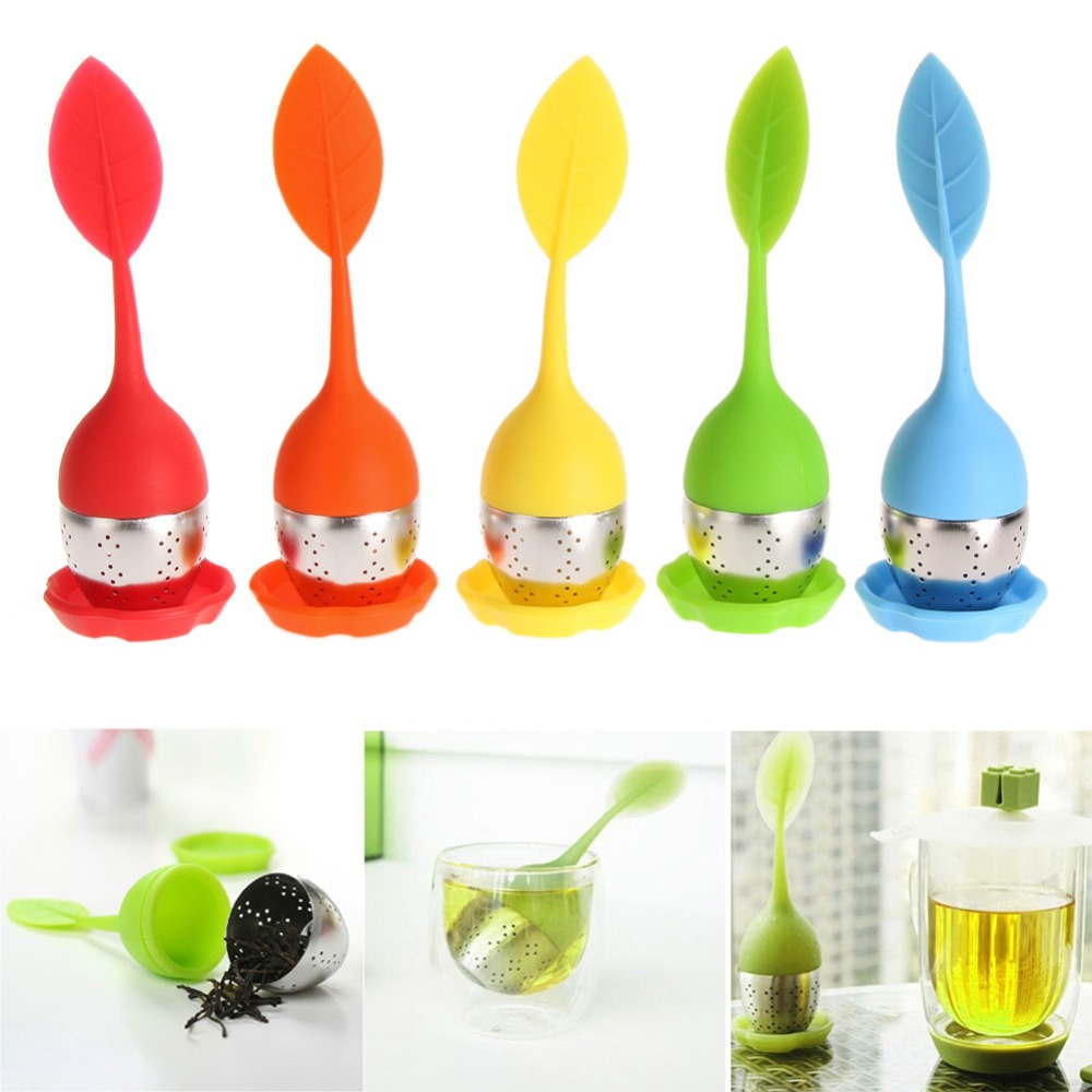 5 Color Sweet Leaf Silicone Tea Infuser Reusable Strainer with Drop Tray Novelty Tea Ball Herbal Spice Filter Tea Tool