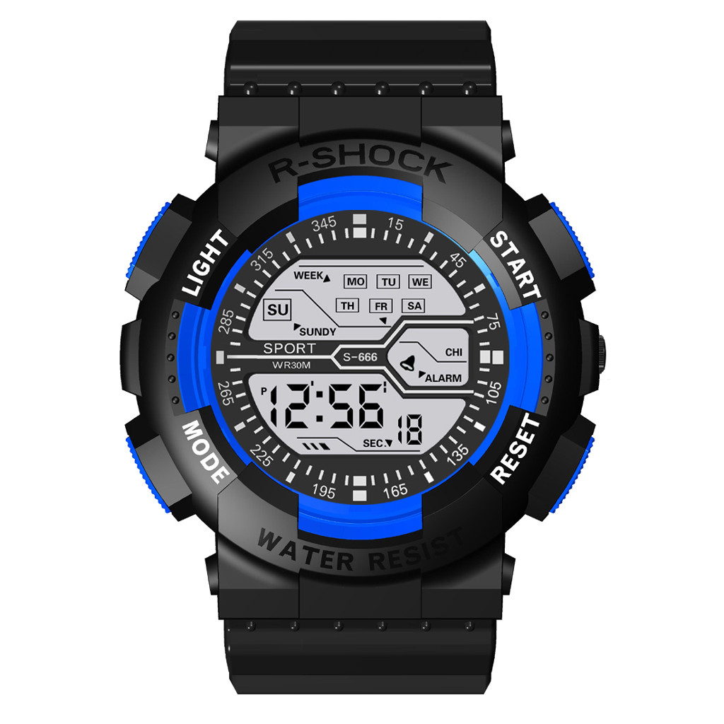 Unisex Digital LED Sports Watch Silicone Band Wrist Watch Men Children Fashion Sport Watch Electronic Digital Watch Gifts Men'#W