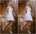 2016 Vestidos Blancos del vestido de Bola Largo/Corto Desmontable Tren Sexy Halter Backless 2 En 1 Vestidos de Novia