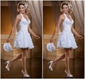2016 Vestidos White Ball Gown Long/Short Removable Train Sexy Halter Backless 2 In 1Wedding Dresses