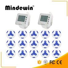 Mindewin New Type Queue System Wireless 15pcs Waterproof Calling Button +2 pcs Wrist Watch Wireless Call System For Restaurant