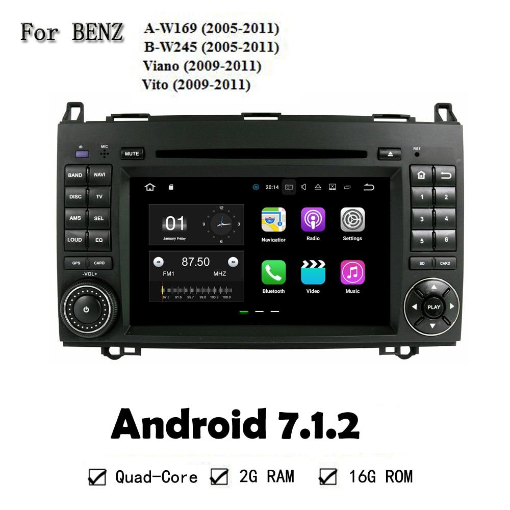 1024*600 Android 7.1.2 4 ядра GPS Navi dvd-плеер автомобиля для Benz A-W169 2005-2011 W245 2005- 2011 Viano 2009-2011 Vito 2009-2011