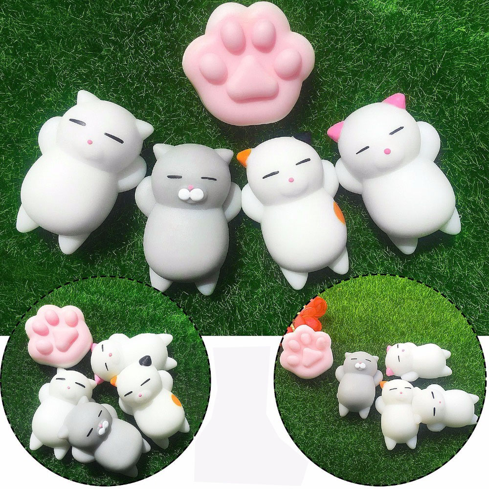 5 Pack Squishy Set Animals Super Soft Mochi Mini Animal Squish Kawaii Antistress Ball Fidget Squeeze Toys 4 Cats & 1 Paw