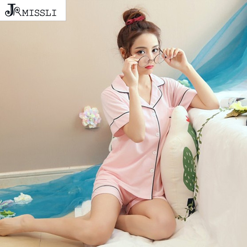 JRMISSLI Women Pajamas Set Summer Sleepwear 100% Cotton Pijama Cute Solid Female Casual T-shirt & Shorts Pajama Sets