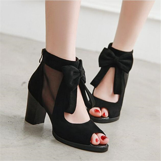 b3159b78e04 US $19.17 29% OFF|PXELENA Flock+ Mesh Boots Gladiator Sandals Ladies Peep  Toe Bowite Cut Out Chunky Block High Heels Rome Party Shoes Black 34 43-in  ...