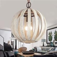 Rustic White Wood Chandelier Bar Living room Restaurant old industrial lamps Loft Vintage home Decor bird cage suspension lamp