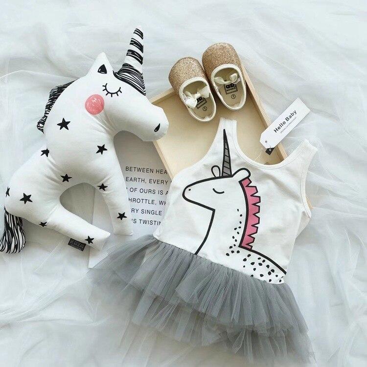 Summer Baby Girl Rompers Dress Unicorn Tutu Girls Dresses Sleeveless Cartoon Newborn Baby Dress Cotton Fashion Kids Girl Clothes