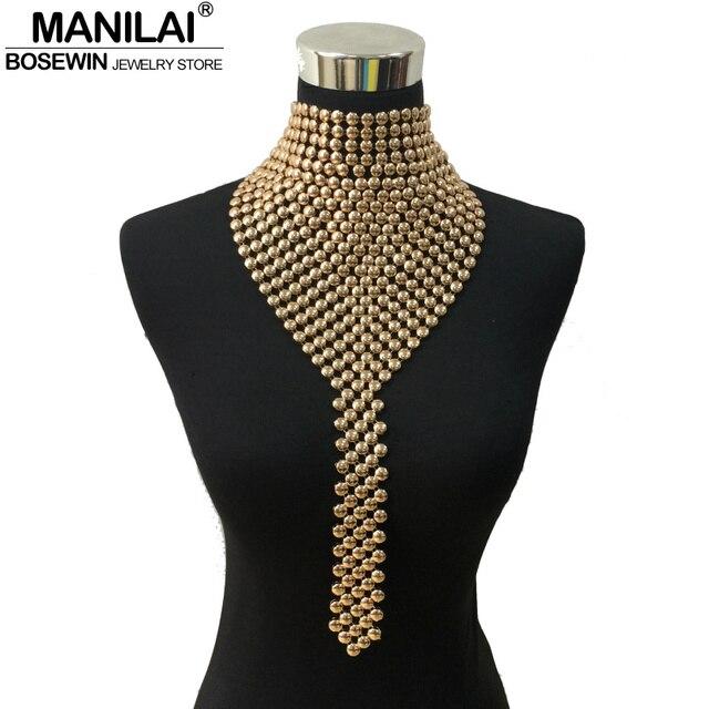 MANILAI модная металлическая ювелирные изделия с чокерами Шейная повязка крутящий момент длинные цепочка с кисточками заявление ожерелья, под...