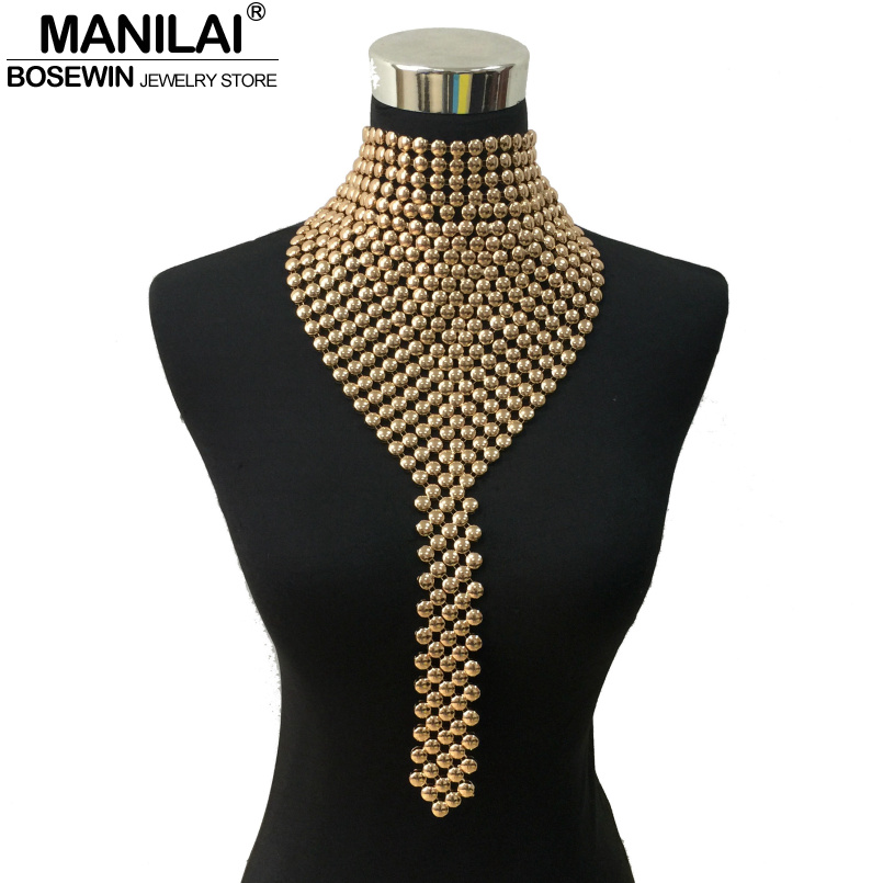 MANILAI Fashion Metal Chokers Jewelry Neck Bib Collar Torques Long Chain Tassels Statement Necklaces Pendants Women Gift