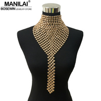 MAINILAI Fashion Metal Chokers Jewelry Neck Bib Collar Torques Long Chain Tassels Statement Necklaces Pendants Women