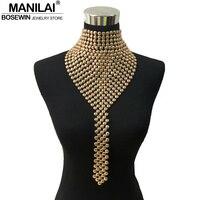 Manilaiファッションメタルチョーカージュエリーネックよだれかけ首輪トルクロングチェーンタッセルステートメント女