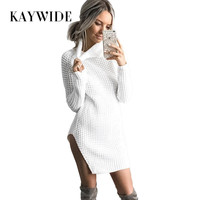 KAYWIDE 2017 Autumn New Women Knitted Dress Series Rib High Neck Full Sleeve Split Sexy Sweater