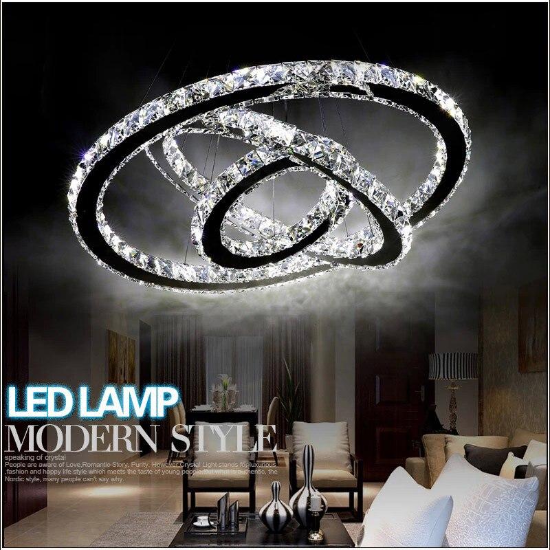 Lampes suspendues style moderne corps de lampe en acier inoxydable K9 cristal peut changer la longueur de la ligne en un motif préféré