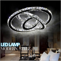 Pendant Lights Modern Chrome Chandelier Crystals Diamond Ring LED Lamp Stainless Steel Hanging Light Fixtures Free