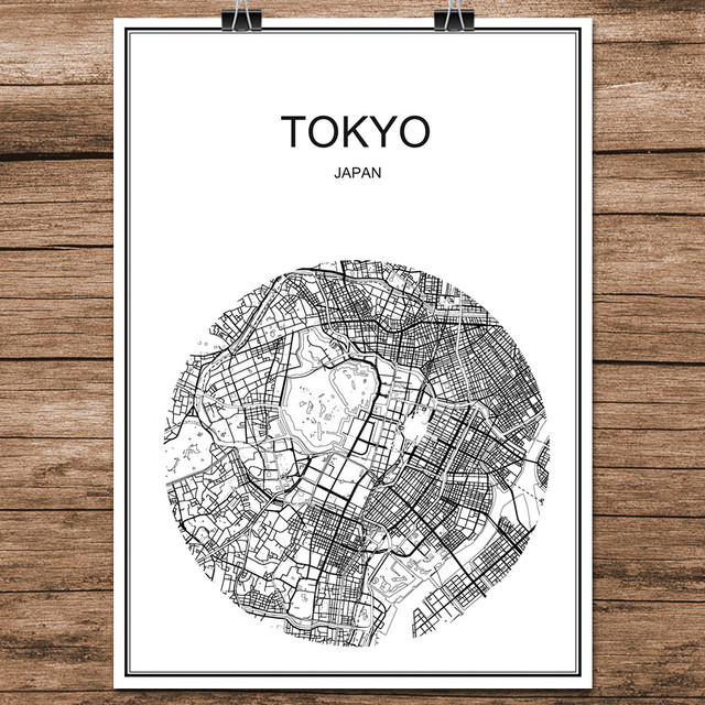 Tokyo japan black white world city map modern print poster coated paper for cafe living room