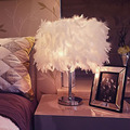 White/Blue/Rose Feather Light Modern Fashion Feather Table Lamp Bedside Light Decoration Desk Lamp Creative Bar Table Lamp US