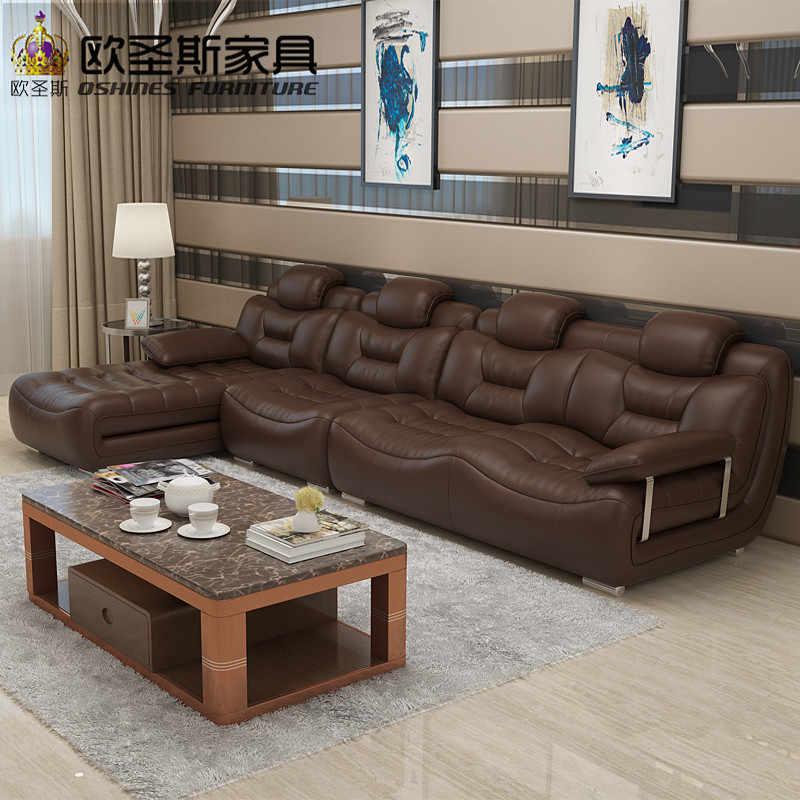 Счастливый коричневый coвременная мебель гостиная импортная Италия искусственный современный секционный кожаный диван с Stailess стальные хромированные ножки