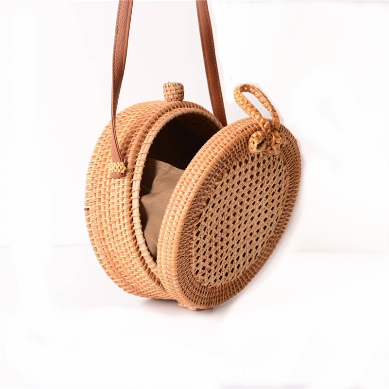 18 Round Straw Bags Women Summer Rattan Bag Handmade Woven Beach Cross Body Bag Circle Bohemia Handbag Bali 6