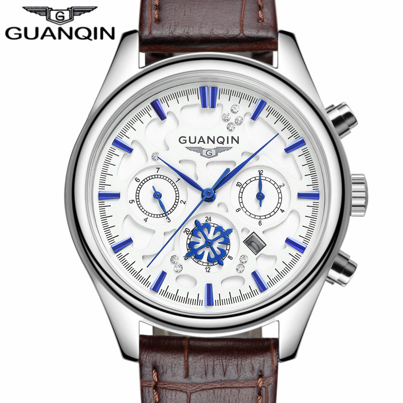 ФОТО relogio masculino GUANQIN Men Sport Watches Top Brand Luxury 24 Hours Date Quartz Watch Men's Fashion Casual Leather Wristwatch