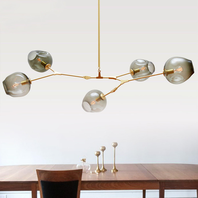Nordic personalized molecular glass pendant lamp post modern minimalist Guest House Villa bubble ball pendant light