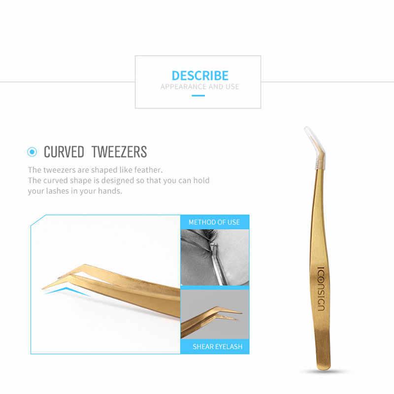 Сверхточный Пинцет для ресниц с золотым пером и дельфином для наращивания ресниц в коричневой кожаной упаковке