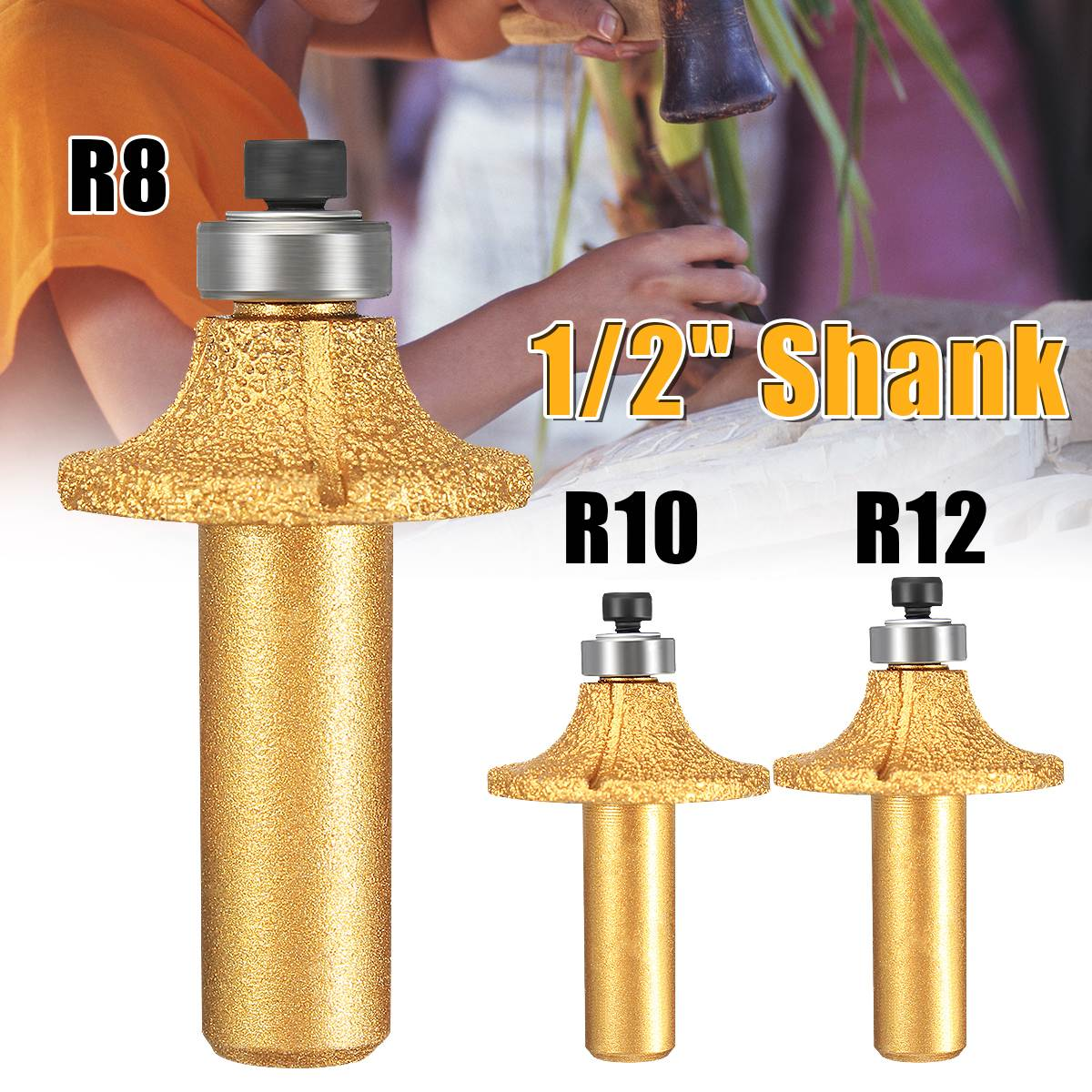 1Pc R8/R10/R12 Diamond Stone Marble Grinding Edge Router Bit 1/2 Shank Milling Cutter r 12